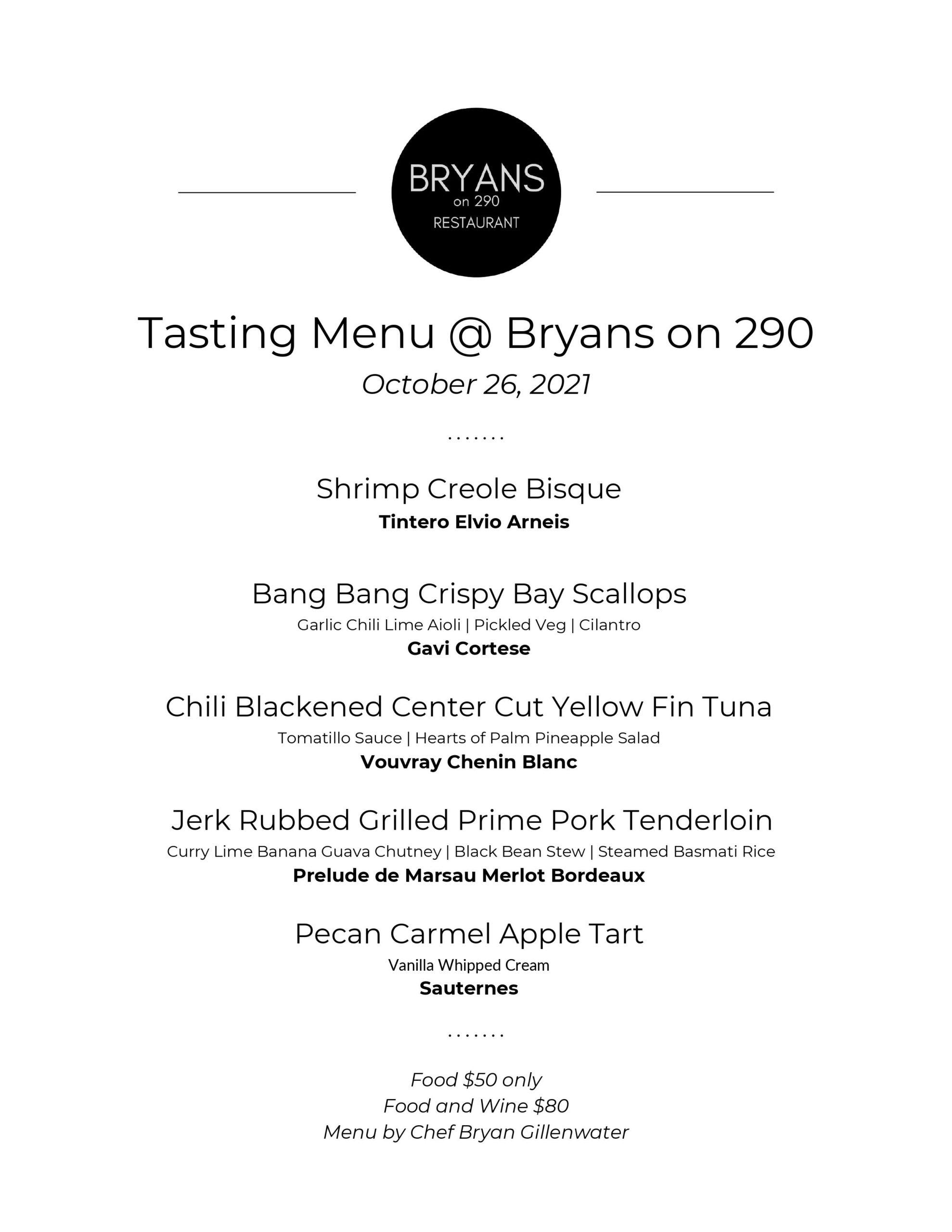 Bryans on 290 - Tuesday Menu 8-17-2021